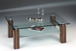 Glastisch mit Ablage in Sandstrahloptik Image